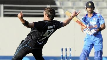 Hamish Bennett exults after getting rid of Virat Kohli