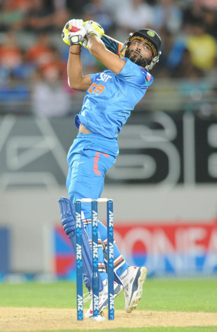 Ravindra Jadeja slaps the ball over third man, New Zealand v India, 3rd ODI, Auckland, January 25, 2014
