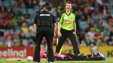 Dirk Nannes is pleased having helped run out Michael Lumb