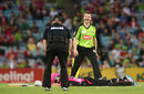 Dirk Nannes is pleased having helped run out Michael Lumb, Sydney Thunder v Sydney Sixers, Big Bash League, Sydney, January 25, 2013