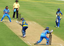 Anagha Deshpande stumps Oshadi Ranasinghe off Rajeshwari Gayakwad, India v Sri Lanka, 1st Women's T20, January 25, 2014