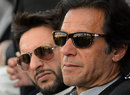 Imran Khan and Shahid Afridi attend the launch of a cricket talent hunt, Peshawar, January 25, 2014
