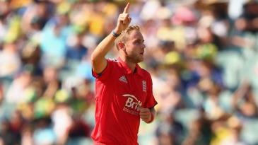 Stuart Broad celebrates after bowling Matthew Wade