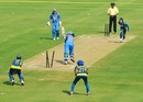 Harmanpreet Kaur was cleaned up by Sripali Weerakkody, India v Sri Lanka, 2nd women's T20, Vizianagaram, January 26, 2014
