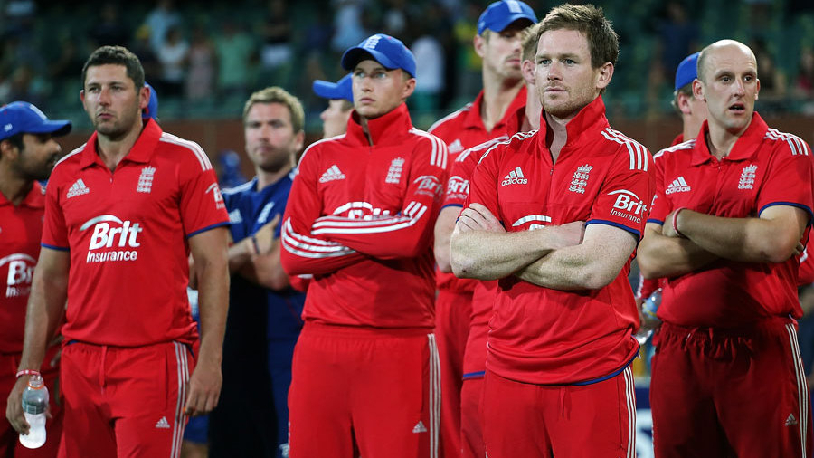 England's players look on during the presentations
