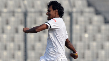 Suranga Lakmal exults after a wicket