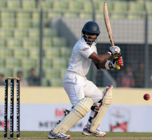 Kaushal Silva works one away to the off side, Bangladesh v Sri Lanka, 1st Test, Mirpur, 1st day, January 27, 2014