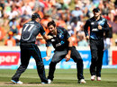 Hamish Bennett celebrates a wicket, New Zealand v India, 4th ODI, Hamilton, January 28, 2014