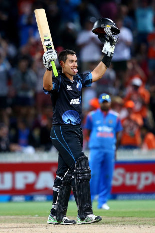 Ross Taylor celebrates his century, New Zealand v India, 4th ODI, Hamilton, January 28, 2014