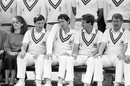 Michael Bore, Derek Randall, Bruce French and Eddie Hemmings at a squad photo for Nottinghamshire, Trent Bridge, 1987