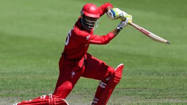 Nizakat Khan of Hong Kong bats during the ICC Cricket World Cup Qualifier match between Namibia