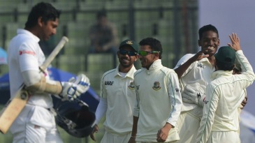 Kumar Sangakkara's innings was ended by Al-Amin Hossain