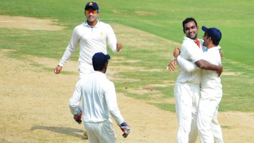 Abhimanyu Mithun took two wickets on the first day