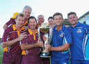 Australia's former World Cup winners pose with the trophy during the Ricky Ponting Tribute Match, Launceston, January 30, 2014