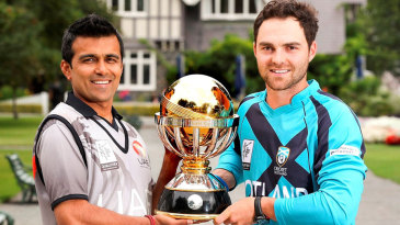 Khurram Khan and Preston Mommsen with the World Cup 2015 Qualifier Trophy