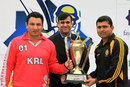 KRL captain Saeed Anwar jnr, PCB CEO Subhan Ahmed and Kamran Akmal with the President's Cup Trophy, Khan Research Laboratories v National Bank of Pakistan, one-day final, Lahore, February 1, 2014