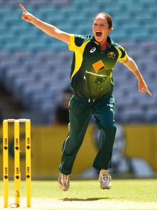 Rene Farrell celebrates one of her four wickets, Australia v England, 3rd women's T20, Stadium Australia, Sydney, February 2, 2014