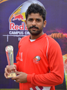 MMCC's Vishant More with his Man-of-the-Match trophy, MM College of Commerce v Sports College Lucknow, Red Bull Campus Cricket 2014, Chandigarh, February 3, 2014