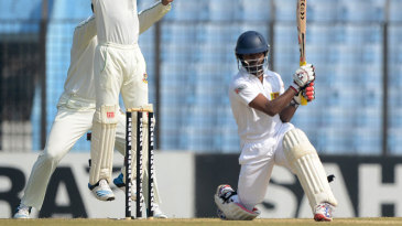 Bangladesh successfully appeal for lbw against Kaushal Silva