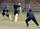 Jain University's top-scorer Dinesh Borwankar mishits a ball, Jain University Bangalore v RLA College Delhi, Red Bull Campus Cricket 2014, Chandigarh, February 4, 2014