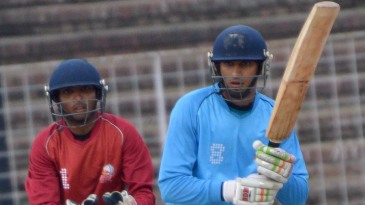 Rizvi College's Kevin Almeida flicks one to leg side