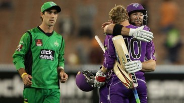 George Bailey and Travis Birt celebrate their win as Glenn Maxwell looks on