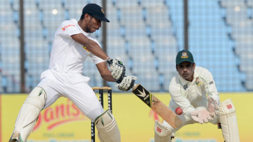 Kithuruwan Vithanage shapes to cut during his brisk innings