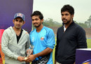 Rao Manish receives the Man-of-the-Match award from Gautam Gambhir and Varun Aaron, D.A.V College v Rizvi Mumbai, Red Bull Campus Cricket National Final, 1st semi-final, Chandigarh