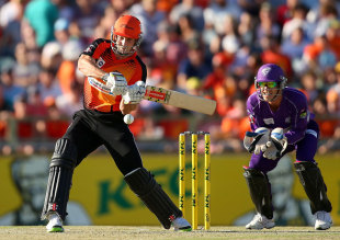 Shaun Marsh blasted a 43-ball 63, Perth Scorchers v Hobart Hurricanes, Big Bash League, Final, Perth, February 7, 2014