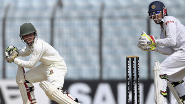 Mominul Haque guides the ball past the wicketkeeper