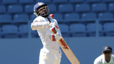 Shikhar Dhawan was out to a terrific bouncer on 115
