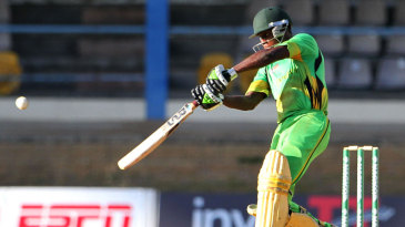 Nkrumah Bonner flays a six over the covers during his 122