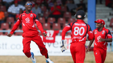 Jason Mohammed exults after a wicket