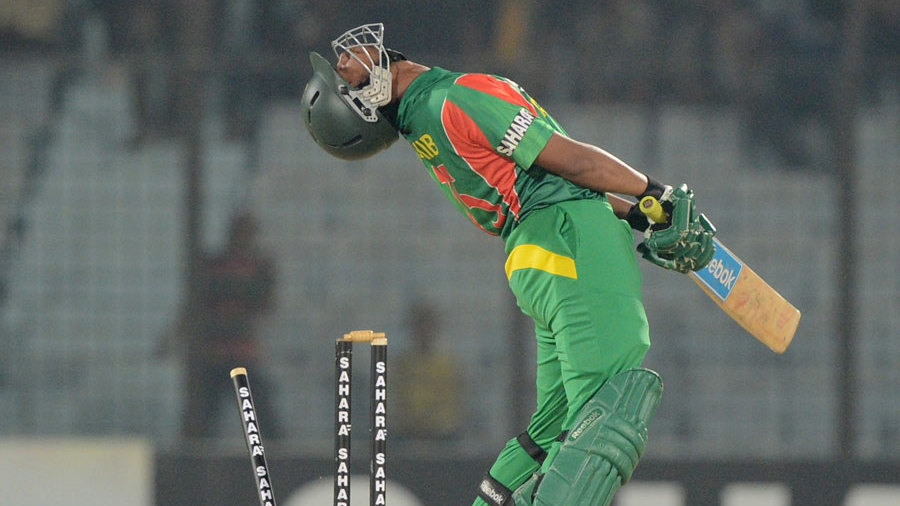Shakib Al Hasan is distraught after losing his stumps to a slower ball