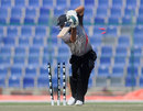 Shorye Chopra is bowled, United Arab Emirates Under-19s v England Under-19s, ICC Under-19 World Cup, Abu Dhabi, February 14, 2014