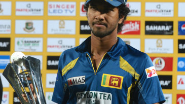 Sri Lanka captain Dinesh Chandimal with the series trophy