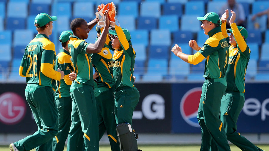 Kagiso Rabada is congratulated after a wicket