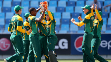 Kagiso Rabada is congratulated after a wicket