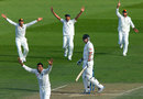 The Indian players appeal for the wicket of Peter Fulton, New Zealand v India, 2nd Test, 2nd day, Wellington, February 15, 2014
