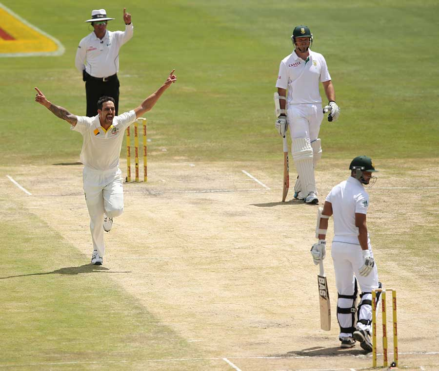Alviro Petersen fell to Johnson, caught behind, in both innings