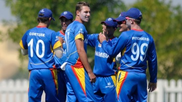 Bredell Wessells celebrates a wicket with team-mates