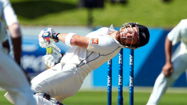 Brendon McCullum sways away from a bouncer