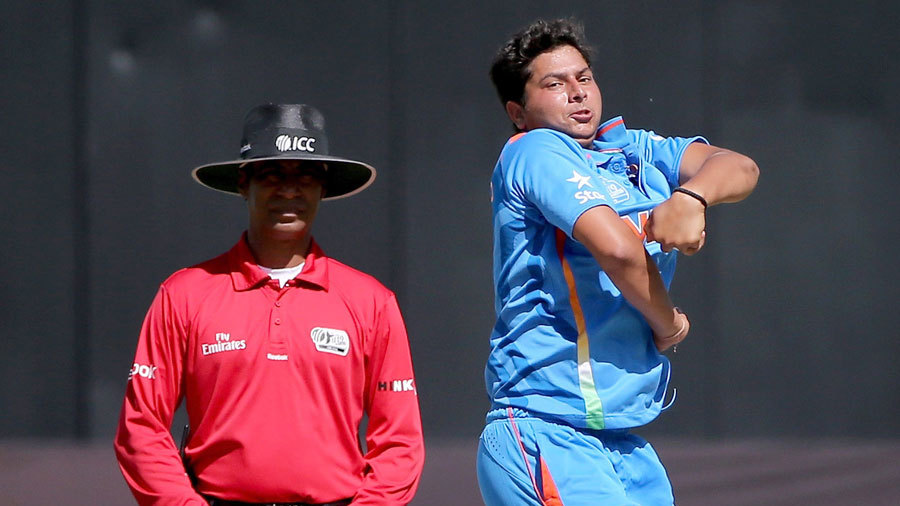 Kuldeep Yadav in his delivery stride