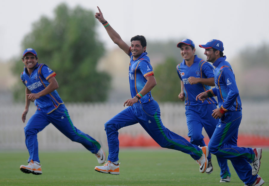 Afghanistan Under-19's Abdullah Adil celebrates the victory