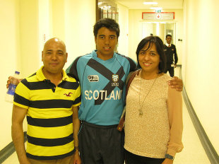 Scotland Under-19s' Chayank Gosain poses with his parents, India Under-19s v Scotland Under-19s, Under-19 World Cup, Dubai, February 17, 2014