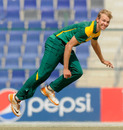 Justin Dill picked up four wickets in his spell, Zimbabwe Under-19s v South Africa Under-19s, Under-19 World Cup, Abu Dhabi, February 18, 2014