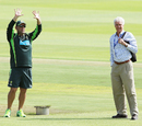 10 minutes to training: Darren Lehmann, with John Inverarity, signals to the team, Port Elizabeth, February 18, 2014