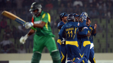 Shakib Al Hasan chides himself as Sri Lanka's players celebrate his dismissal