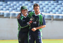 Gary Wilson and Tim Murtagh celebrate a wicket, West Indies v Ireland, 2nd T20, Kingston, February 21, 2014