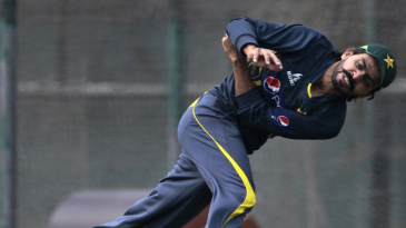 Fawad Alam throws a ball during practice